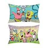 Aisuwer 2 Pcs Both Sides Print Reversible Pillow Cases Spongebob Squarepants and Friends Standard Pillow Covers 20'x 30'