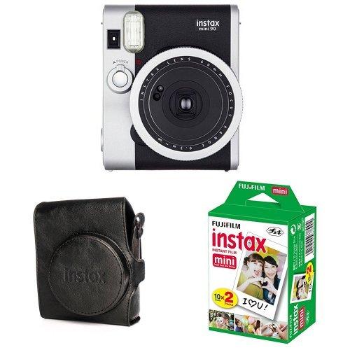 Fujifilm - Instax Mini 90 NEO Classic - Appareil Photo à Impression Instantanée - Noir + 2x10 films + Housse