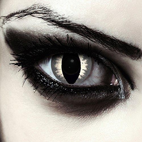 Graue farbige Katzen Kontaktlinsen für Halloween Karneval Katzenaugen Farblinsen in grau Design: Grey Cateye