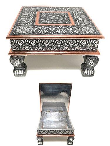 eRadius Table basse en cuivre oxydé - table Bajot, Chowkie, Puja - avec rangement ouvert, 38 cm x 38 cm