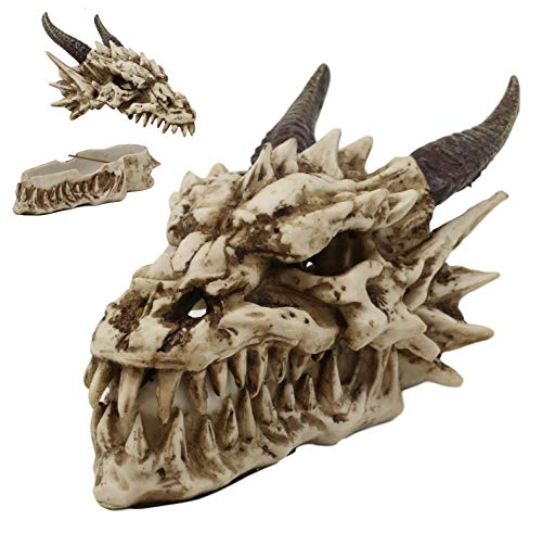"""Ebros Gift 9"""" Long Smoking Nostrils and Eyes Bone Skeleton Fossil Dragon Skull 'Stryker' Incense Stick Burner Sculptural Box Statue Home Aromatherapy Decorative for Dungeons and Dragons GOT Fans"""