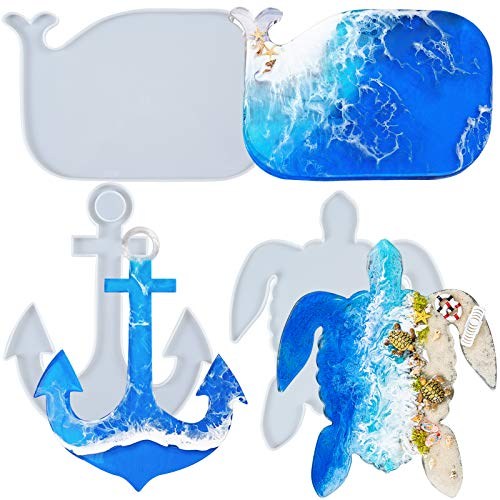 FUNSHOWCASE Epoxy Resin Silicone Tray Molds Turtle Whale Anchor for Serving Board, Platter, Wall Hanging, Concrete, Cement, Polymer Clay 3-in-Set Extra Large Length 12.5inch