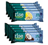 Rise Non-GMO, Gluten Free, Soy Free, Real Whole Food, Plant Based Protein Bar, No Added Sugar, High Protein with Fiber, Potassium, Vitamins & Nutrients 2.1oz (Lemon Cashew, Chocolatey Coconut) 8 Pack
