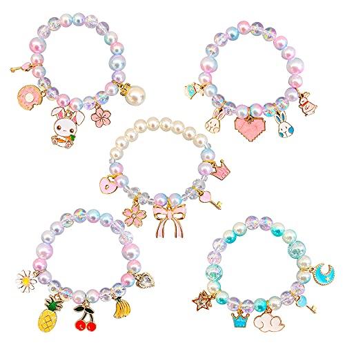 Braccialetti Bambini, Speyang 5 Pezzi Colorati Braccialetto Bambina Elastico, Principessa Perline Bracciali, Ciondolo Perle Bracciali, per Bomboniere di Compleanno, Gioca a Bomboniere