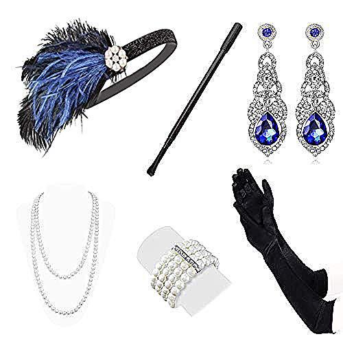 Lukovee 1920s Flapper Accessories Set Great Gatsby Costume Headband Necklace Gloves Cigarette Holder for Women