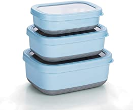 Lille Home Premium Stainless Steel Food Containers/Bento Lunch Box With Non-Slip Exterior | Set of 3, 470ml, 900ml,1.4L | Leakproof | BPA Free | Portion Control (Blue)
