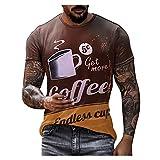 Camiseta atlética de manga corta para hombre, clásica y casual, para entrenamiento, deportes, verano, para trabajo al aire libre, café, L