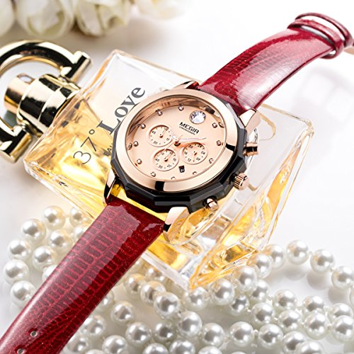 MEGIR Women's Analogue Chronograph Quartz Watch with Fashion Casual Leather Strap for Business & Sport ML2042LRERD-0N0