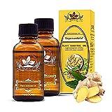 Smart Art Jengibre Masaje Aceite esencial Aceite vegetal 100% puro Natural, Aceites para masajes de spa, Drenaje linfático Baño de pies Raspado Spa Baño Masaje Cuidado del cabello (2pcs)
