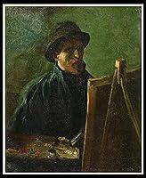 油絵 数字キットによる絵画 塗り絵 大人 手塗り DIY絵 デジタル油絵 内壁装飾 装飾品 飾り - Self-Portrait with Felt Hat at the Easel.Vincent van Gogh