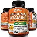 NutriFlair Liposomal Vitamin C 1600mg, 180 Capsules - High Absorption, Fat Soluble VIT C, Antioxidant Supplement, Higher Bioavailability Immune System Support & Collagen Booster, Non-GMO, Vegan Pills