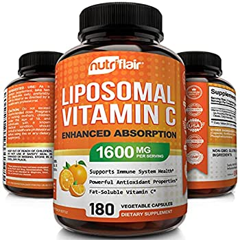 NutriFlair Liposomal Vitamin C 1600mg 180 Capsules - High Absorption Fat Soluble VIT C Antioxidant Supplement Higher Bioavailability Immune System Support & Collagen Booster Non-GMO Vegan Pills