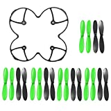 AFUNTA Propeller Blades Protection Guard Cover and Props 5X Sets Compatible X4 H107C H107D Quadcopter--Black / Green