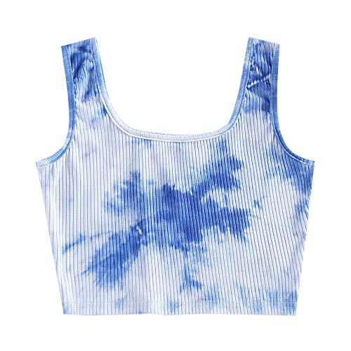 ZAFUL Basic Crop Top Tie Dye Ribbed Sleeveless Tank Tops Deep Sky Blue S