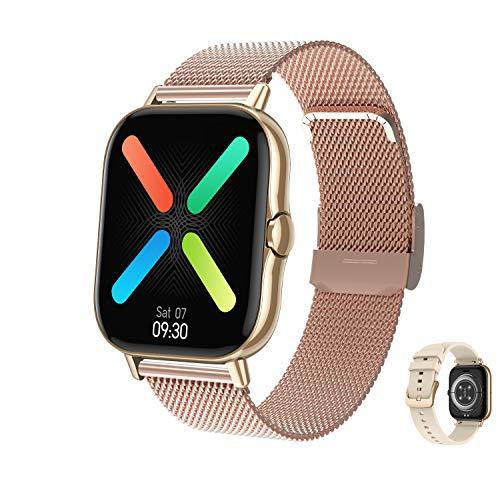 Aliwisdom - Reloj Inteligente para Hombre Mujere, Smartwatch con Llamadas Bluetooth y Recordatorio de Whatsapp Impermeable Reloj Deportivo Correa de Metal para iPhone Android (Oro Rosa)