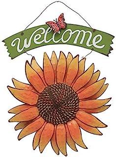 Attraction Design Vintage Sunflower Decor Welcome Sign for Front Door, Garden Themed Welcome Door Sign Hanging Metal Welco...