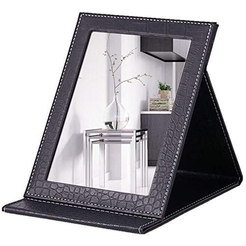 JYHY maquillaje espejo espejo de tocador espejo compacto portátil plegable espejo de sobremesa con acolchado de piel sintética Cove Camping viaje,Black M