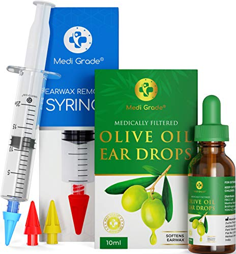 Ear Wax Remover Syringe Kit by Medi Grade - With Olive Oil Ear Drops -...