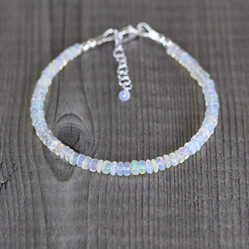 LOVEKUSH Beautiful AAA++ Quality Ethiopian Welo Opal Bracelet in Sterling Silver, Rose or Gold FilledFilled Filled. Beaded Gemstone Stacking Bracelet. Layering Jewelry 4.5mm