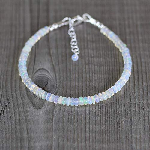 LOVEKUSH Beautiful AAA++ Quality Ethiopian Welo Opal Bracelet in Sterling Silver, Rose or Gold FilledFilled Filled. Beaded Gemstone Stacking Bracelet. Layering Jewelry 4.5mm