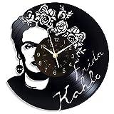 KingLive Frida Kahlo Vinilo Relojes Casa Decoración Manualmente Diseño Hombre y Mujer (no led)