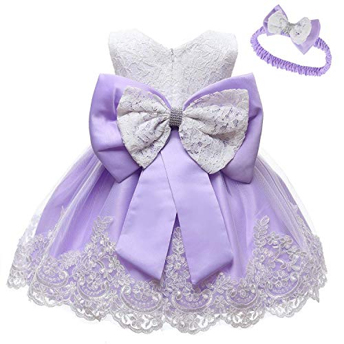MYRISAM Baby Girls 1st/2nd Birthday Dress Bowknot Flower Lace Dresses Wedding Pageant Christening Baptism Tutu Gown Lavender 18-24M