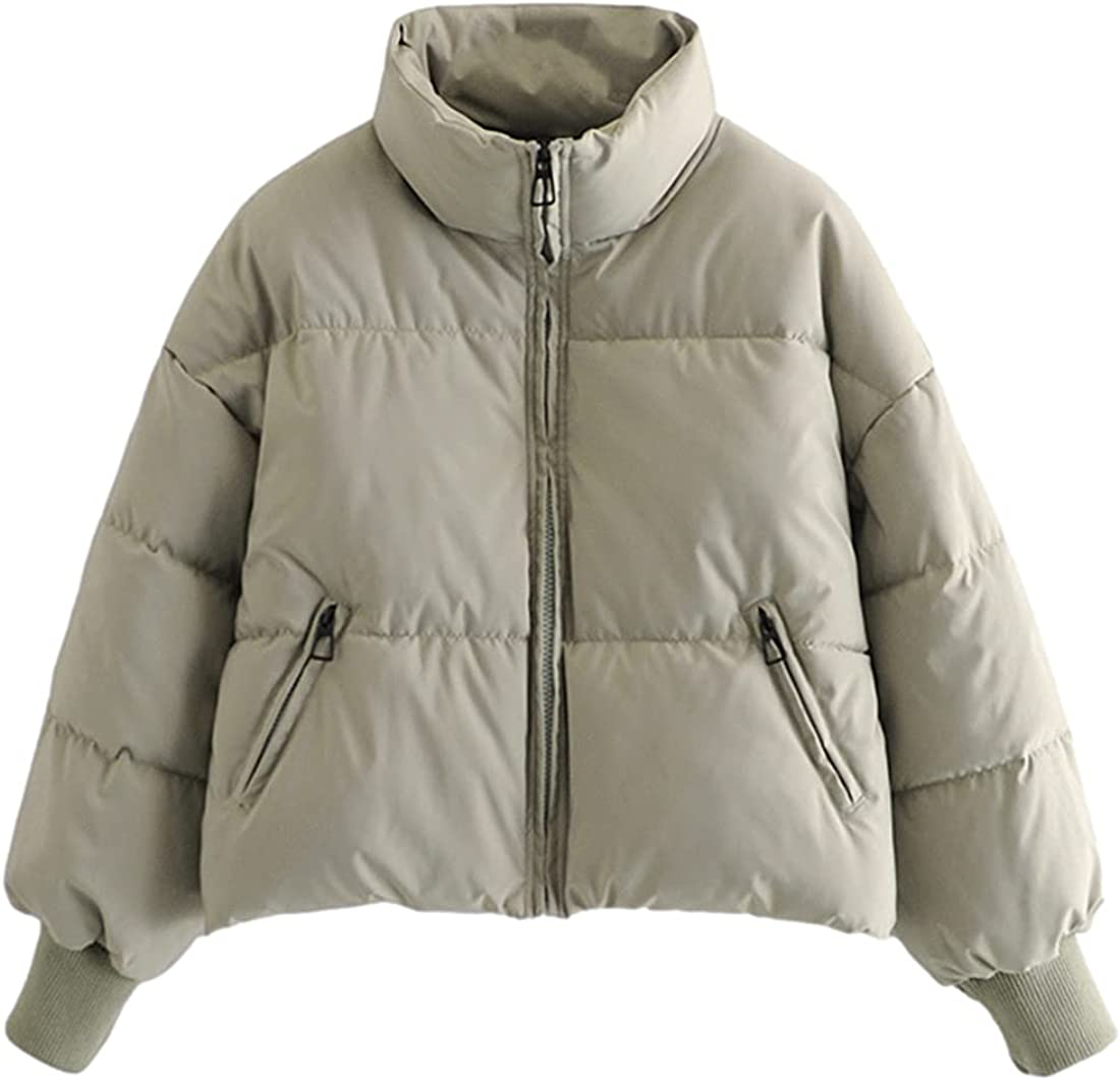 PUWEI Women's Package Puffer Jacket High Collar Long Sleeve Padded Down Coat Tops