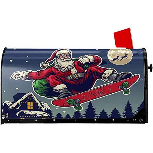 CC Decoration Post Box Cover,Santa Claus Ride Skateboard Brief Briefkasten Abdeckung, Magnet Briefkasten Abdeckungen Für Hausgarten Dekor 52.6x64.7CM