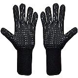 Guantes Barbacoa Guantes Ignifugos Resistentes al Calor hasta 500 ° C Oven Gloves Guantes de Cocina de Silicona Antideslizantes BBQ Gloves,para Horno,Barbacoa,Cocinar,Guantes Chimenea (Negro)