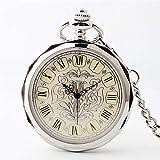 SGSG Reloj de Bolsillo clásico de Acero Vintage Liso para Hombre