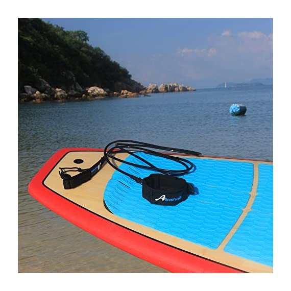 """Abahub Premium Surfboard Leash, Straight Surf Board Leg Rope, SUP Legrope Strap for Shortboard, Longboard, Paddleboard… 2 Full Range: Size options: 6ft, 7ft, 8ft, 9ft, and 10ft; 10 Color options: Black, Blue, Green, Clear Red, Clear Blue, Orange, Purple. It's recommended to choose a leash equal in length to or slightly longer than the board it will be used on. Strong & Safe: This leash is made of super strong 7 mm thick polyurethane cord, with molded-in double Stainless Steel swivels. The double wrap-around velcro cuff is to add extra strength and security to your connection. Comfortable & Easy: High-density neoprene padded 2"""" Ankle Cuff has an easy pull tab with a hidden key pocket."""