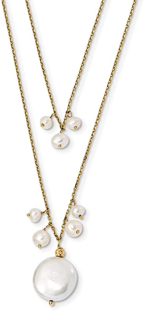 14K Yellow Gold 13-14mm Coin & 3-4mm Rice FWC Pearl 2-strand Necklace 16 Inch