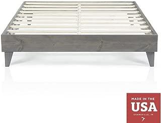 Cardinal & Crest Wood Platform Bed Frame | Modern Wooden Design | Solid Wood Construction | Easy Assembly | Twin Size Grey