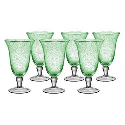 Artland Iris Seeded Light Green 18 Ounce Footed Iced Tea Glass, Set of 6