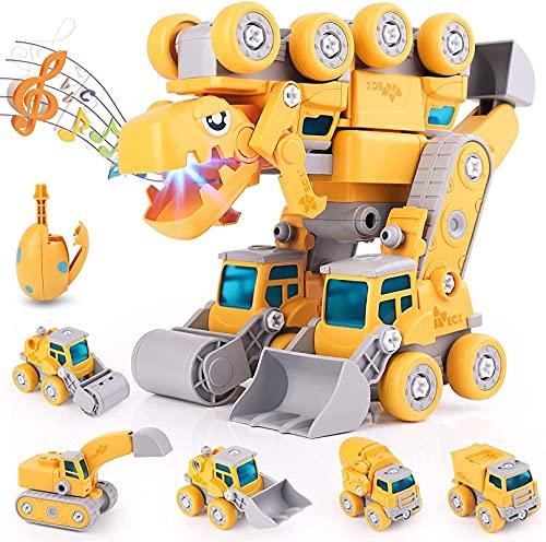 Juguetes de dinosaurios para niños 3-5, juguetes para niños para 5 6 7 años de edad, niños, 5 en 1, desmonte los vehículos de construcción Transformen Dinosaur robot Toy Cars, cumpleaños Día de los ni