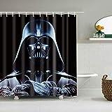 zhanghui2018 Star Wars Charaktere auf schwarzem Hintergr& Badezimmer Duschvorhang langlebigen Stoff Mehltau Badzubehör kreativ mit 12 Haken 180X180CM