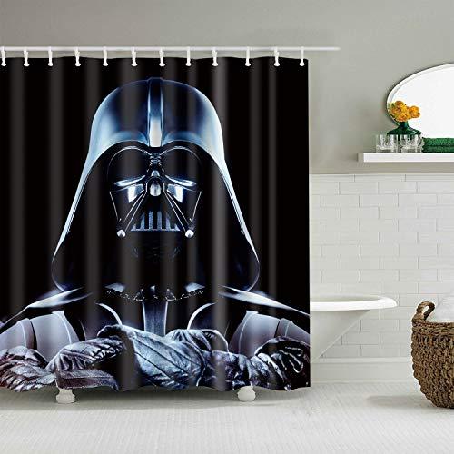 gwregdfbcv Caracteres de Star Wars sobre Fondo Negro Cortina de baño Ducha de Tela Resistente Moho Accesorios de baño creativos con 12 Ganchos 180X180 CM