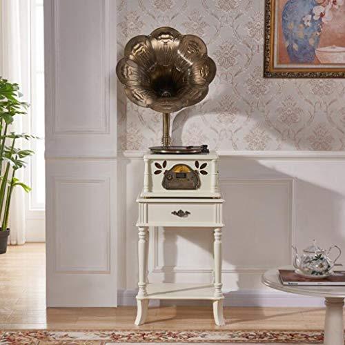 GOM platenspeler, vintage, voor vinyl, met hoorn, geïntegreerde luidspreker 33/45/78 U/min, Bluetooth/CD/FM-radio, afstandsbediening, geheugengeheugen/USB/RCA-uitgang GOM-001, Wit
