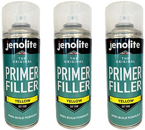 3 x JENOLITE Vernice Spray Per Primer - Primer flessibile con elevate proprietà di riempimento - Giallo - 400 ml