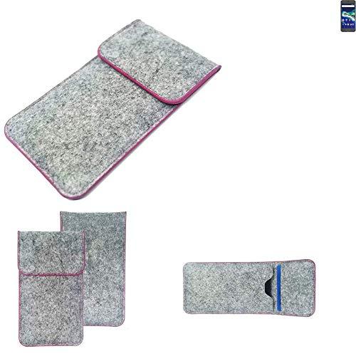 K-S-Trade Handy Schutz Hülle Für General Mobile GM 6 Schutzhülle Handyhülle Filztasche Pouch Tasche Hülle Sleeve Filzhülle Hellgrau Pinker Rand