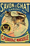 Soap Savon Chat Cat Ferrier Marseille Art Wall Poster - Water Resistant Poster (Size: 24' x 36')