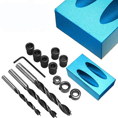 14 Pcs Hole Screw Jig Dowel Drill Joinery Kit Carpenters For Carpenters Woodwork Guides Joint Angle Tool Carpentry Locator Craft With 6/8/10mm Adapter (14PCS) (14PCS)