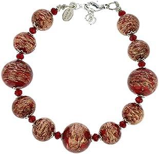 GlassOfVenice Pulsera de bolas de cristal de Murano, color rojo
