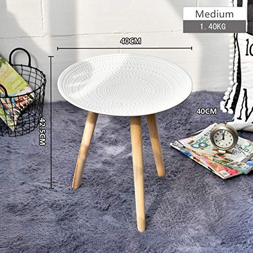 Nachtkastje LKU Creatieve ronde Scandinavische massief houten salontafel opslag theeservies fruitservicebord dienblad bed thuis, wit groot