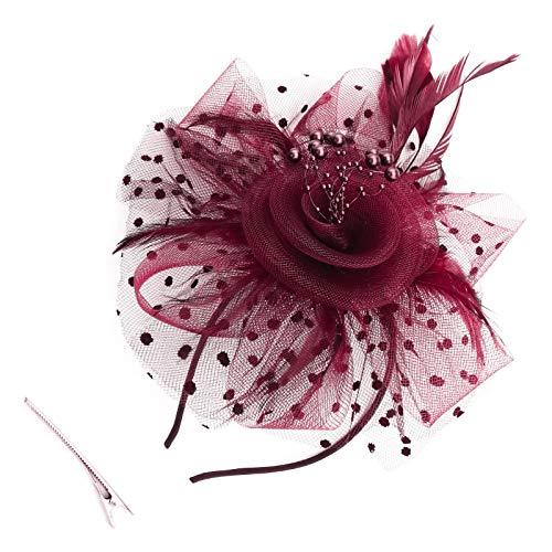 OTOTEC Tocado de vino con diadema con clip de pelo de malla de perlas de imitación de flor de plumas accesorios para el pelo de boda niñas mujeres