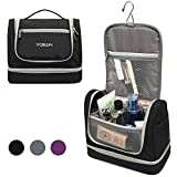 YOBAN Hanging Travel Toiletry Bag with Wet Compartment for Women,Waterproof Portable Bathroom Cosmetic Makeup Organizer Bag, Travel Accessories Toiletry Kit (Black)