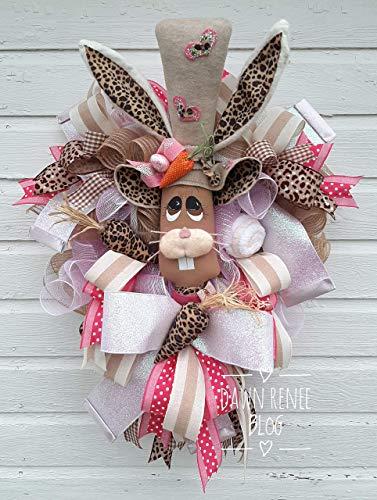 Leopard Decor Easter Bunny Wreath