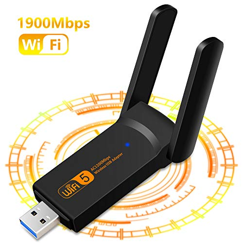 1900Mbps Adaptador WiFi USB, Receptor WiFi Inalámbrico con Doble Banda AC1900, Soporte de 5Ghz 1300Mbps 2.4Ghz 600Mbps, USB 3.0 Dongle para PC/Desktop/Laptop Windows10 /8.1/8 /7 /XP Mac 10.5-10.15