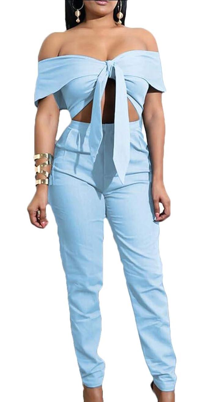 香港ジョージバーナードパフ女性セクシー2ピースの衣装は、作物トップはロングパンツbodyconセット