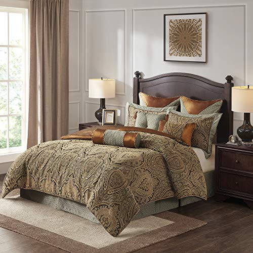 Hampton Hill Canovia Springs King Size Bed Comforter Duvet 2-In-1 Set Bed In A Bag – Teal, Brown , Jacquard Medallion…
